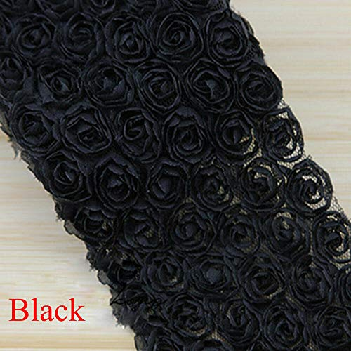 Chiffon Rosette (New DIY Sewing Embroidered Craft Ribbon Fabric Lace Trim Rose Flower 3D Chiffon (Color - Black))