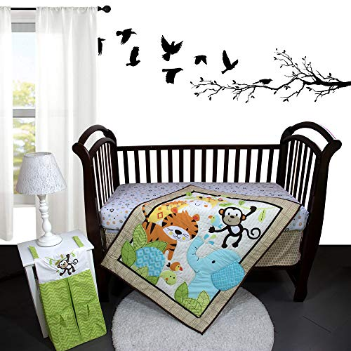 Dancing Festival 4 Piece Nursery Crib Bedding Set for Boys and Girls, for Standard Size Crib, Crib Bedding Set of Fitted Crib Sheet, Quilt, Dust Ruffle and Diaper Stacker