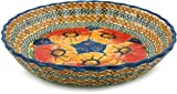 Polish Pottery Fluted Pie Dish 10-inch Bright Beauty UNIKAT