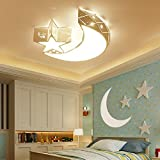 Aiwen Ceiling Lights 20W Flush Mount Ceiling Light Children's Room Ceiling Lamps Boys And Girls LED Star Moon Lighting Fixture Warm Light Source D 18inch H 3.9inch