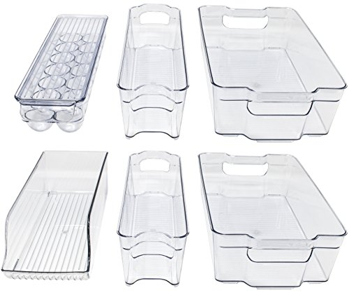 Sorbus Fridge Bins and Freezer Organizer Refrigerator Bins Stackable Storage Containers (6-Piece)
