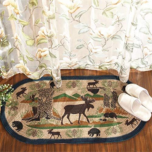 RGUTHSLC Jute Material Hand Make Weave Doormats Deer Animal Star Stripes Flag Pattern Living Room Bedroom Rug Home Decorator Floor Rug A 50x100cm