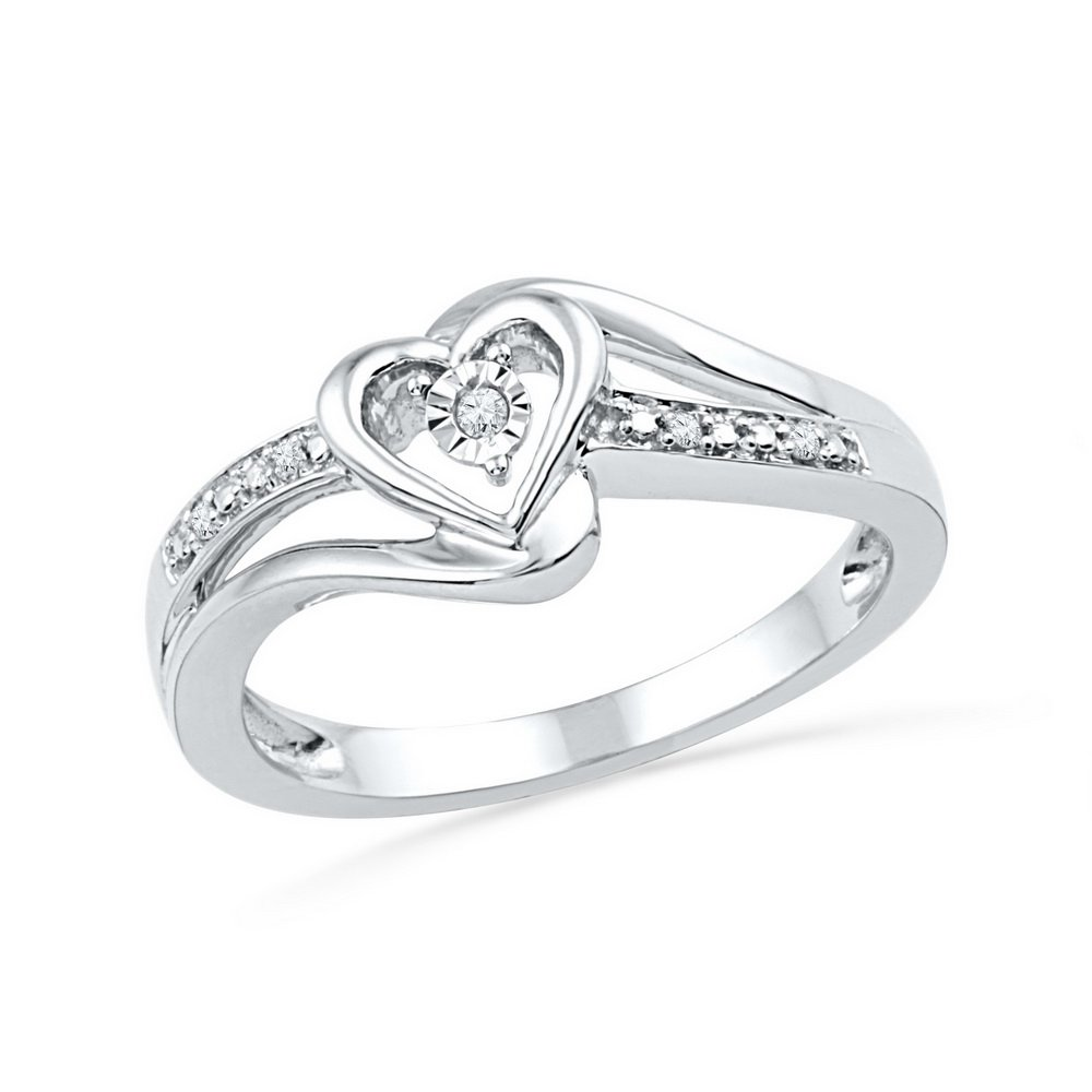10kt White Gold Womens Round Diamond Heart Love Promise Bridal Ring .03 Cttw (I2-I3 clarity; J-K color)