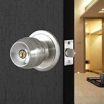 TOOGOO(R) Stainless Steel Round Door Knobs Handle Entrance Passage Lock  Entry With Key New     Amazon.com