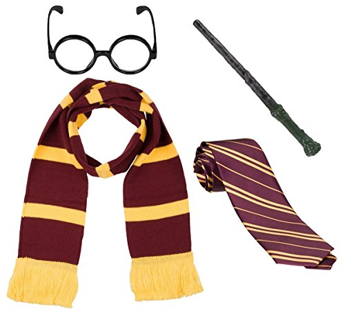 New Harry Wizard School Uniform Book Day Maroon Tie Wand and Glasses 3 Piece Set
