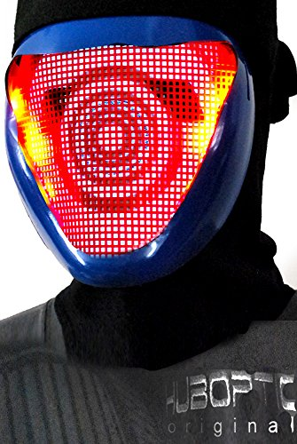 [Original Huboptic BASS FX - Blue Mask - DJ Mask Face Expression Light Up Mask LED Eyes Neon mask Smiley Smile Wrench Mask Bot Rave Mask Robot Mask Cyborg Ninja Mask Cosplay Party Mask] (Rave Monster Costume)