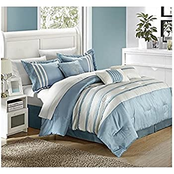 chic home torino pleated piecing luxury bedding collection 7piece comforter set queen blue