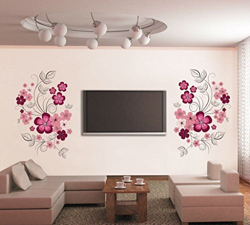 Decals Design 'Flowers with Vine' Wall Sticker (PVC Vinyl, 30 cm x 90 cm, Multicolor)