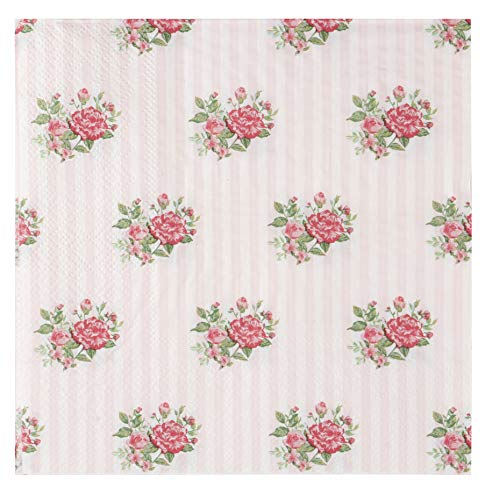 Shabby Chic Bridal Shower - Floral Paper Napkins - 100-Pack Disposable Tea Party Napkins, Weddings, Bridal Shower Party Supplies, 2-Ply, Vintage Pink Roses, Flower Decoupage, Luncheon Size Folded 6.5 x 6.5 Inches