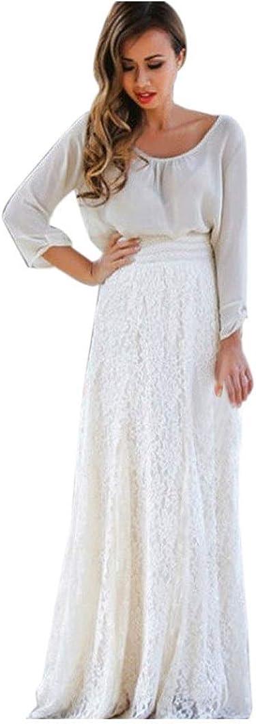 Gusspower Mujer Elegante Recta Larga Falda De Tutu De Tul Longitud Encaje Boho Maxi Faldas De Baile