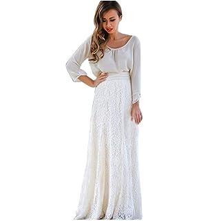 Qijinlook 💖 Faldas largas Blancas Mujer Fiesta Elegante/Vestido ...
