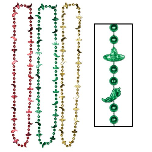 Fiesta Beads (asstd red, gold, green) Party Accessory  (1 count) (6/Card)]()