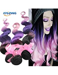 Amazon purple hair extensions extensions wigs atozwig brazilian virgin hair 3 bundles body wave pink pmusecretfo Images