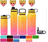 36oz beer mug - SUCFORST Water Bottle +2 Extra Lids- Vacuum Insulated Stainless Steel Wide Mouth Travel Mug - Powder Coated Double-Walled Flask,36 oz,32 oz,24 oz,18 oz (32 oz, Pink/Yellow)