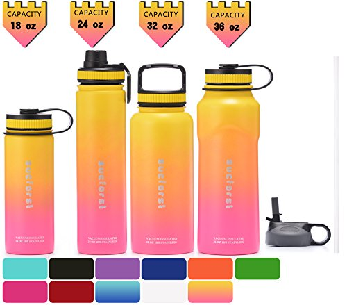 SUCFORST Water Bottle +2 Extra Lids- Vacuum Insulated Stainless Steel Wide Mouth Travel Mug - Powder Coated Double-Walled Flask,36 oz,32 oz,24 oz,18 oz (32 oz, Pink/Yellow) by SUCFORST