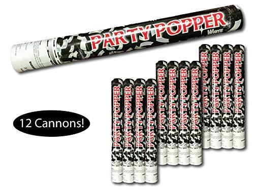 Confetti Cannon Confetti Popper, Tissue Paper Confetti, Color: White, Size: 16 inch long, Case of 12 units, Safe Compressed Air Disposable Confetti Launcher launches Confetti up to 30 Feet!