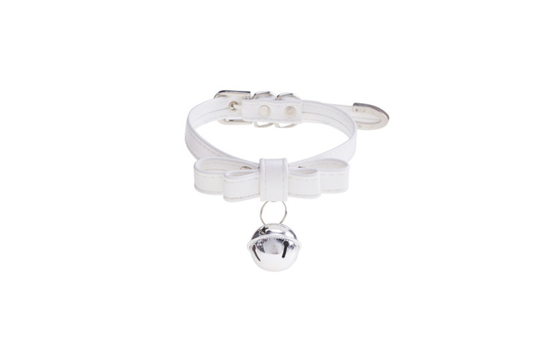Handmade Lolita Cat Neko Cospaly Leather Bow & Big Bell Punk Choker Necklace (White)