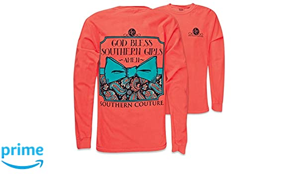 84fedbed7 Amazon.com: Southern Couture SC Comfort God Bless Southern Girls on Longsleeve  Womens Classic Fit Shirt - Neon Red Orange: Clothing