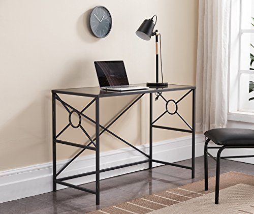 - Kings Brand Furniture - Black, Brushed Copper Metal with Tempered Glass Home & Office Computer Desk