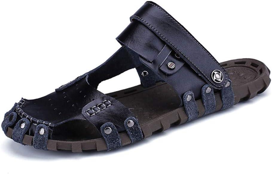 LIXIGB Hommes Mesh Cuir Plat De Glissement Respirant Sandales Tendance Mode Non-Slip Intérieur Extérieur Summer Beach Black