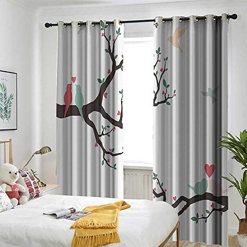 AndyTours Love Decor Simple Curtain Birds on The Tree Serenade Nostalgic Partners Ceremony Valentines Romance Theme Energy Efficient, Room Darkening 108