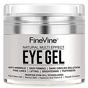 Anti Aging Eye Gel - Made in USA - for Dark Circles, Puffiness, Wrinkles, Bags, Skin Firming, Fine Lines and crows feet - The Best Natural Eye Gel for Under and Around Eyes.