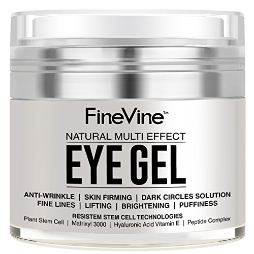 Anti Aging Eye Gel - Made in USA - for Dark Circles, Puffiness, Wrinkles, Bags, Skin Firming, Fine Lines and crows feet - The Best Natural Eye Gel for Under and Around Eyes. Under Natural