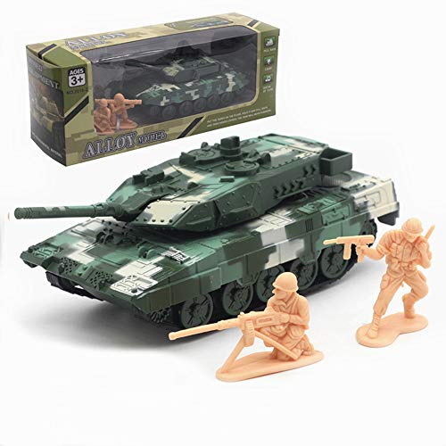 Ailejia 1:72 Alloy Battle Tank Leopard 2 Main Battle Tank Music, Lights, Alloy car Models Back to Power Functions (Leopard 2 A6 Green) ()