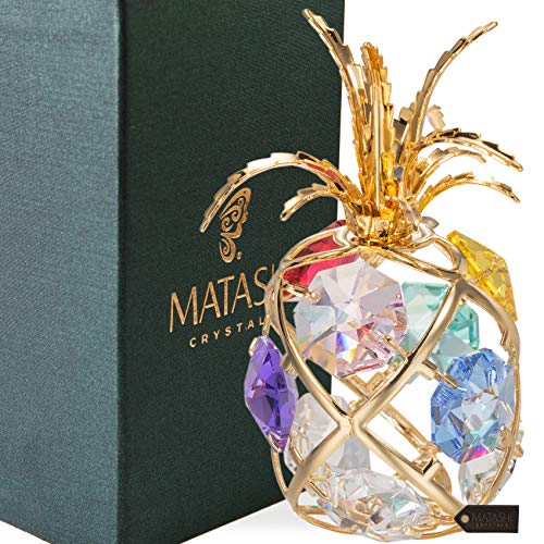 Matashi 24K Gold Plated Mini Pineapple Ornament with Colored Crystals
