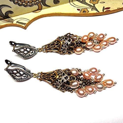(Freshwater Pearl Tassels Multiple Teardrop Chandelier Long Dangle Earrings Handmade OOAK)