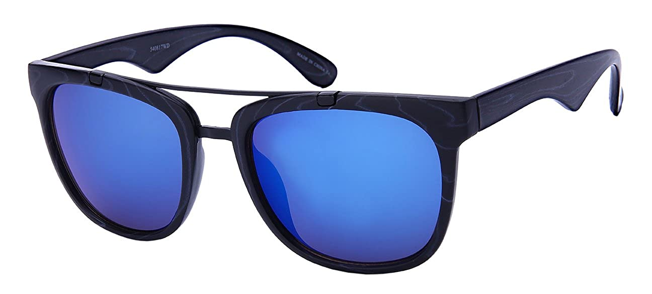 8d11e61cd2 Amazon.com  Edge I-Wear Horned Rim Aviators with Color Mirror Lens  540817WD-REV-3(BLKWD)  Clothing