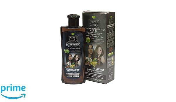 Primera Dama a base de plantas (Ayurveda) Jamaica negro Castor pelo aceite 300 ml 10 oz - para cabello, pestañas, cejas crecimiento - con oliva y coco ...
