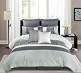 Wonder-Home Quilted Comforter Set with Matelasse Embroidery, 8 Pieces Embellished Luxury Oversized Bedding Set, Color Block Pattern, Queen, 92'x96'