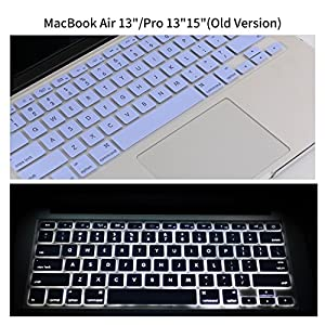 "Premium Hollow Keyboard Cover for MacBook Pro 13"" 15"" 17""(with or w/out Retina Display, 2015 or Older Version) iMac and MacBook Air 13 Inch, Serenity Blue"