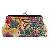 Colorido Retro Women Flower Cash Change Coin Purse Wallet Clutch Handbag Card Key Holder size Medium (Yellow)
