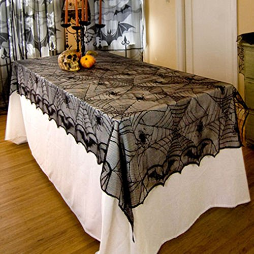 Hixixi Black Lace Spider Web Bat Table Cover Tablecloth Halloween Party Room Decoration