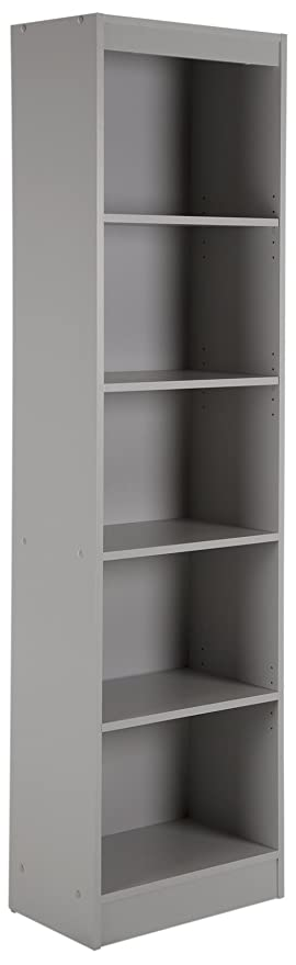 South Shore Axess 5 Shelf Narrow Bookcase, Soft Gray