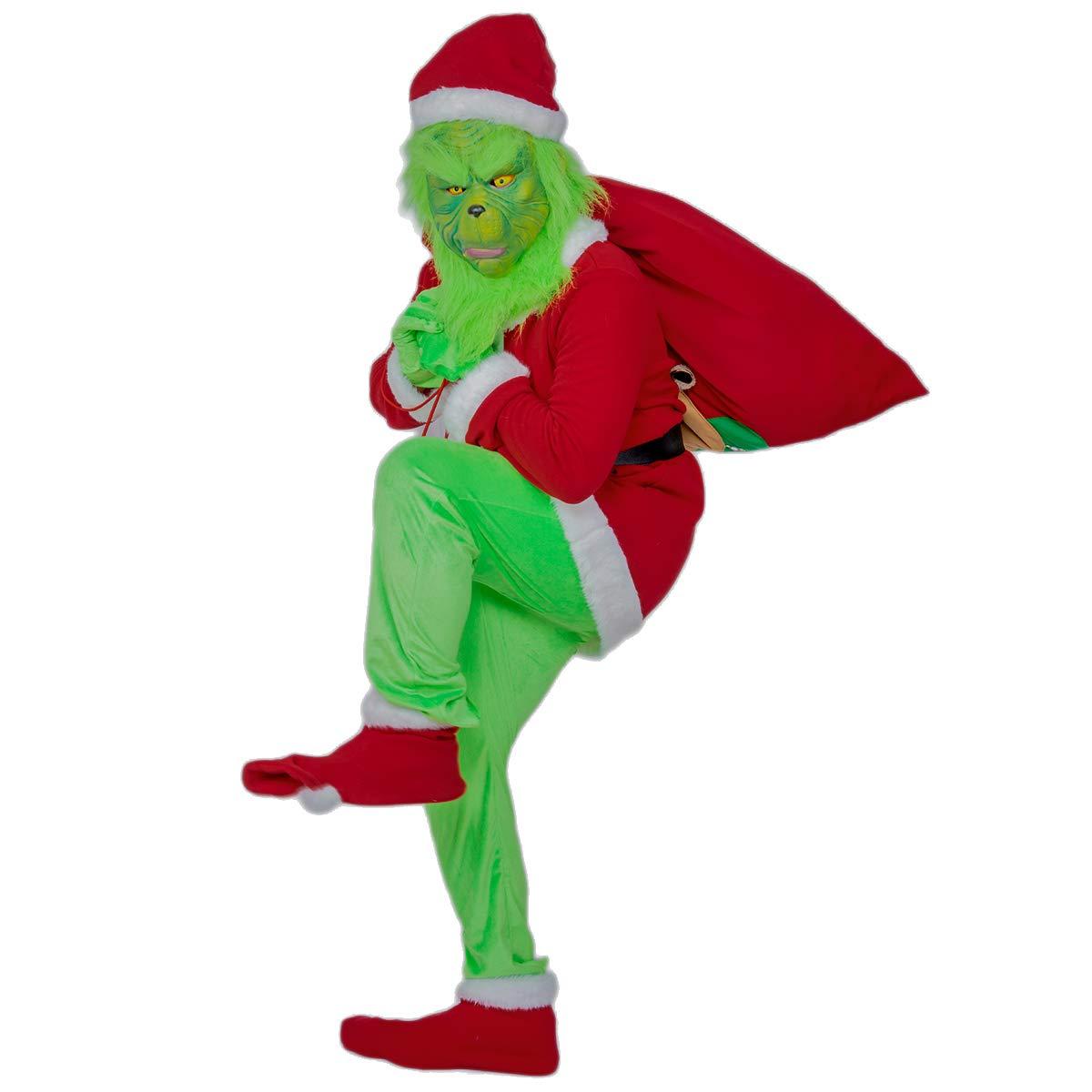 Mesky Grinch Disfraz para Carnaval Costume con Máscara Traje Especial en Fiestas Representación de Año Nuevo 2019: Amazon.es: Ropa y accesorios