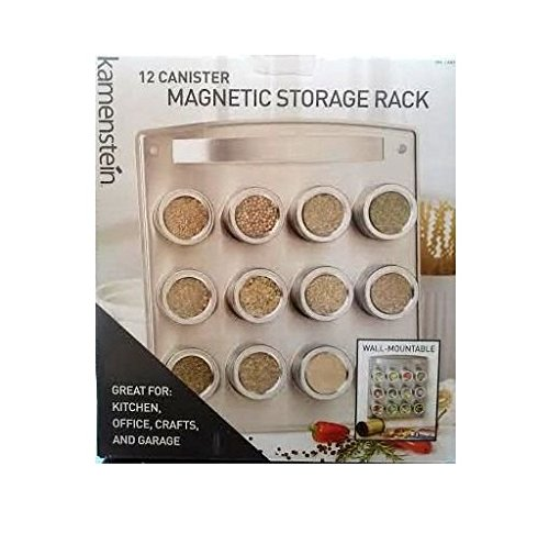 Kamenstein 12 Canister Magnetic Storage Rack Wall Mountable For Kitchen, Office, Crafts & Garage by Kamenstein