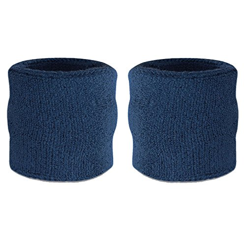 Suddora Wrist Sweatbands - Athletic Cotton Terry Cloth Wrist Bands for Basketball, Tennis, Football, Baseball (Pair) (Navy)