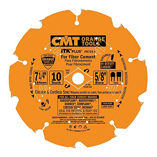 - CMT P07010 ITK Plus Saw Blade for Fiber Cement, 7-1/4 X 10 Teeth, TCG with 5/8-Inch<> Bore