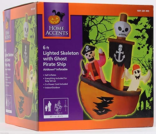 Trio of Ghosts Pirate Ship Airblown 6 Ft Tall Halloween -