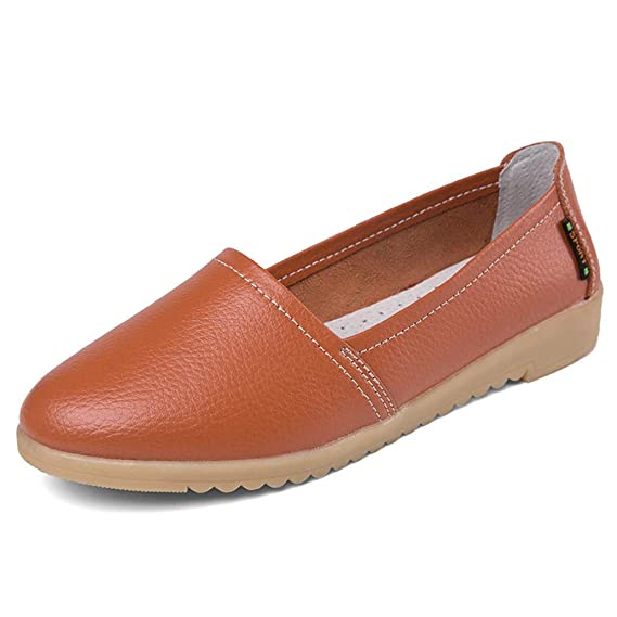 Amazon.com: York Zhu Women Ballet Flats Leather Slip on Loafers Boat Shoes Ladies Walking Shoes: Sports & Outdoors