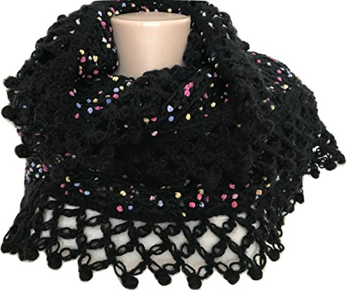 Black Knit Shawl, Scarf with Pink, Yellow, Lilac Dots and Hand Crocheted Black (Dot Shrug)