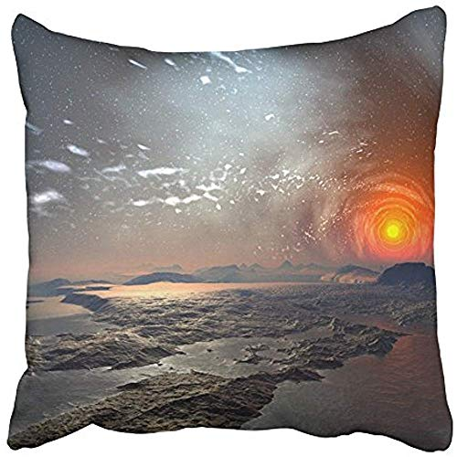 (Starowas Throw Pillow Covers Cases Decorative 18x18 Inch Fiction Alien Planet with Mystic Sky Universe Science Landscape SciFi World Two Sides Print Pillowcase Case Cushion Cover)