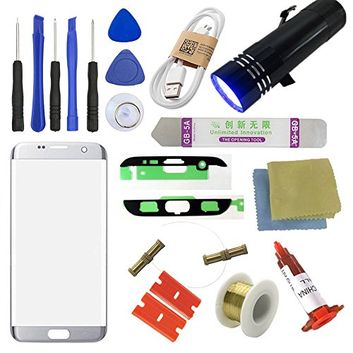 Price comparison product image For Samsung Galaxy S7 Edge Screen Replacement, Sunmall Front Outer lens Glass Screen Replacement Repair Kit LCD Glass Repair Kit For Samsung Galaxy S7 Edge G9350 G935T G935A G935V G935R4 G935P(Silver)
