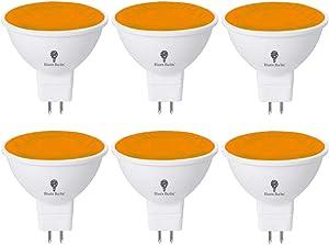 6 Pack BlueX LED MR16 Orange Light Bulb - 4W (40Watt Equivalent) - GU5.3 Bi-Pin Base 12V Orange LED Orange Bulb, Party Decoration, Porch, Home, Holiday Lighting, Decorative Illumination MR16 LED Bulb