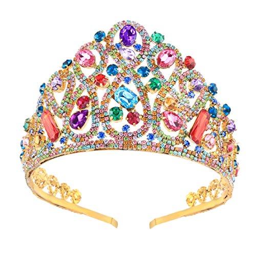 Stuffwholesale Luxury Golden Headband Colorful Rhinestone Crown Tiara for Wedding Prom Party Decor (#3)