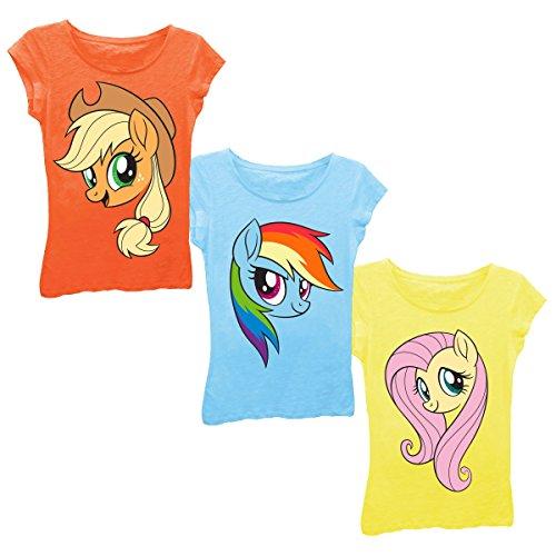 My Little Pony Girls' Little Applejack Rainbow Dash Fluttershy Big Face 3-Pack Tee Bundle, Orange/Cancun/Yellow, 4