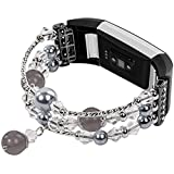 iGK Bands Compatible for Fitbit Charge 2 Bands Metal Bracelet Jewelry Replacement Wristband Sport Strap with Metal Connectors Compatible for Fitbit Charge 2 Fitness Watch Band Pearl Gray Large